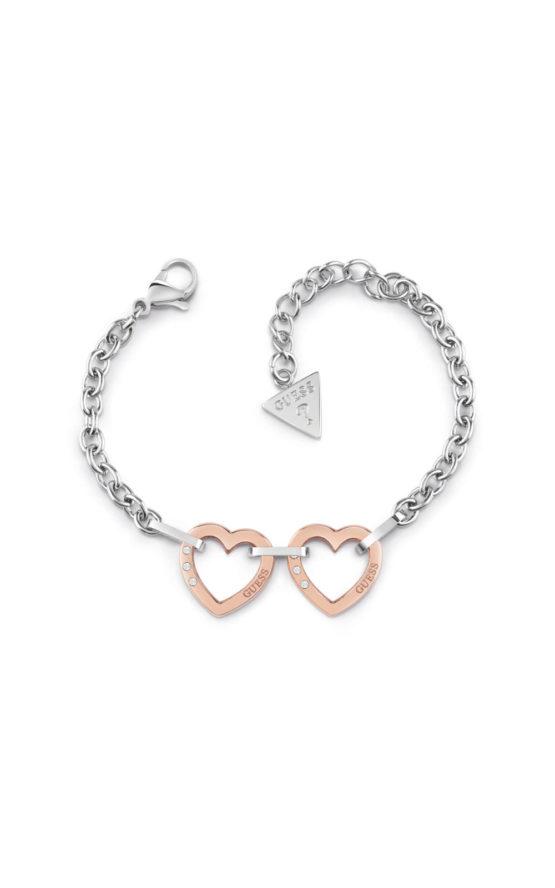GUESS STEEL UBB29073-S Ασημένιο Βραχιόλι Με Ροζ Χρυσές Καρδιές