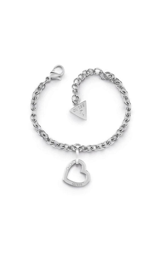 GUESS STEEL UBB29074-S Ασημένιο Βραχιόλι Με Καρδιά