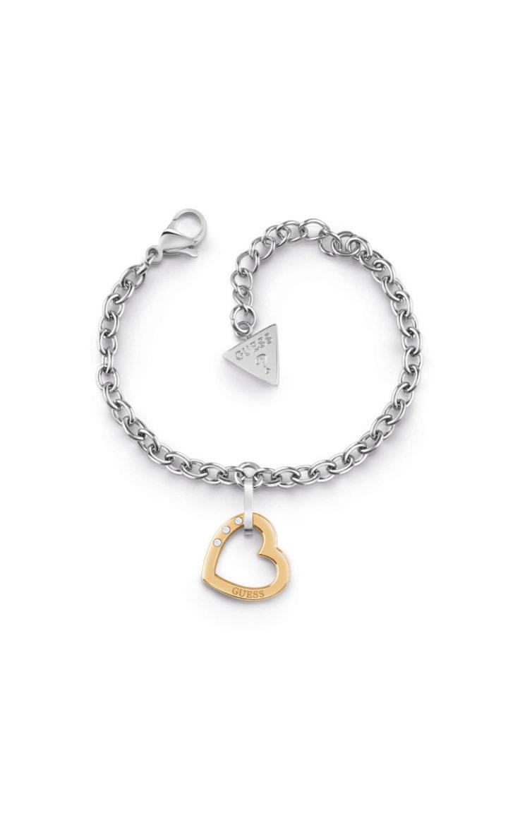 GUESS STEEL UBB29077-S Ασημένιο Βραχιόλι Με Χρυσή Καρδιά