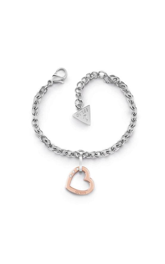 GUESS STEEL UBB29078-S Ασημένιο Βραχιόλι Με Ροζ Χρυσή Καρδιά