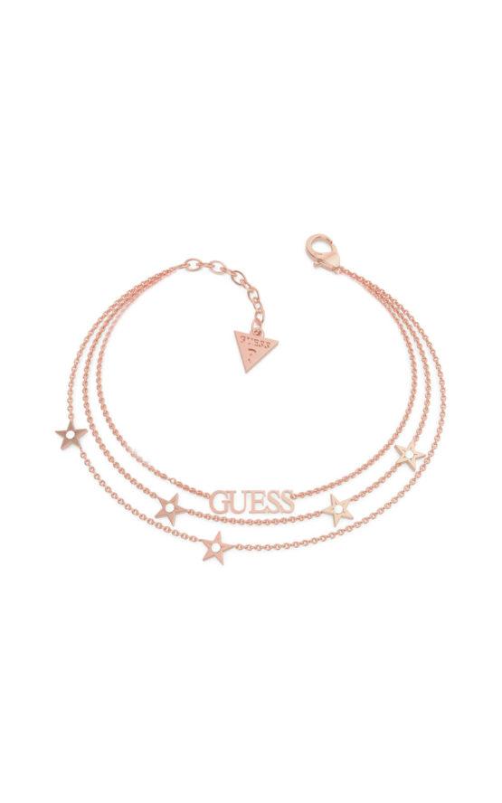 GUESS STEEL UBB70079-S Ροζ Χρυσό Βραχιόλι Με Τριπλή Αλυσίδα