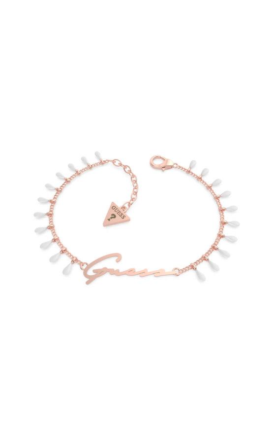 GUESS STEEL UBB70125-S Ροζ Χρυσό Βραχιόλι Με Κρεμαστά