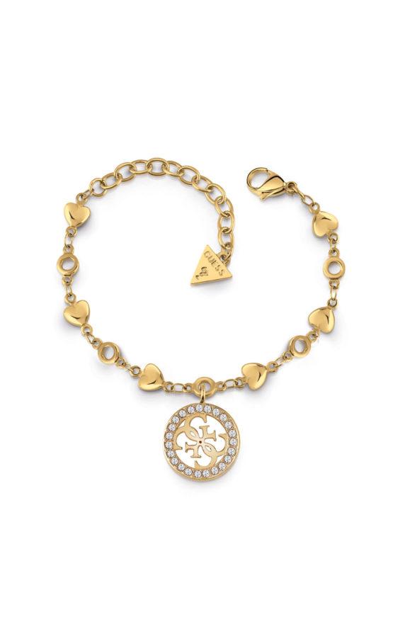 GUESS STEEL UBB78017-S Χρυσό Βραχιόλι Με Σχέδιο & Καρδιές (Αντιγραφή)