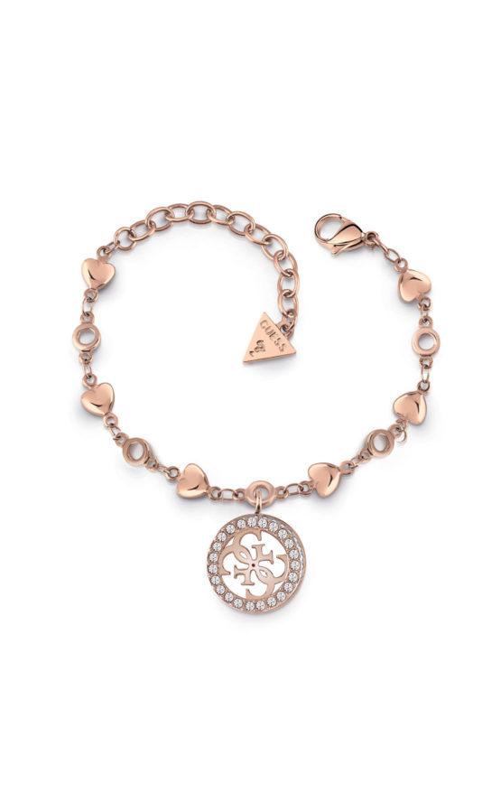 GUESS STEEL UBB78018-S Ροζ Χρυσό Βραχιόλι Με Σχέδιο & Καρδιές