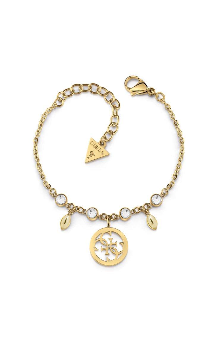 GUESS STEEL UBB78020-S Χρυσό Βραχιόλι Με Σχέδιο & Πέτρες