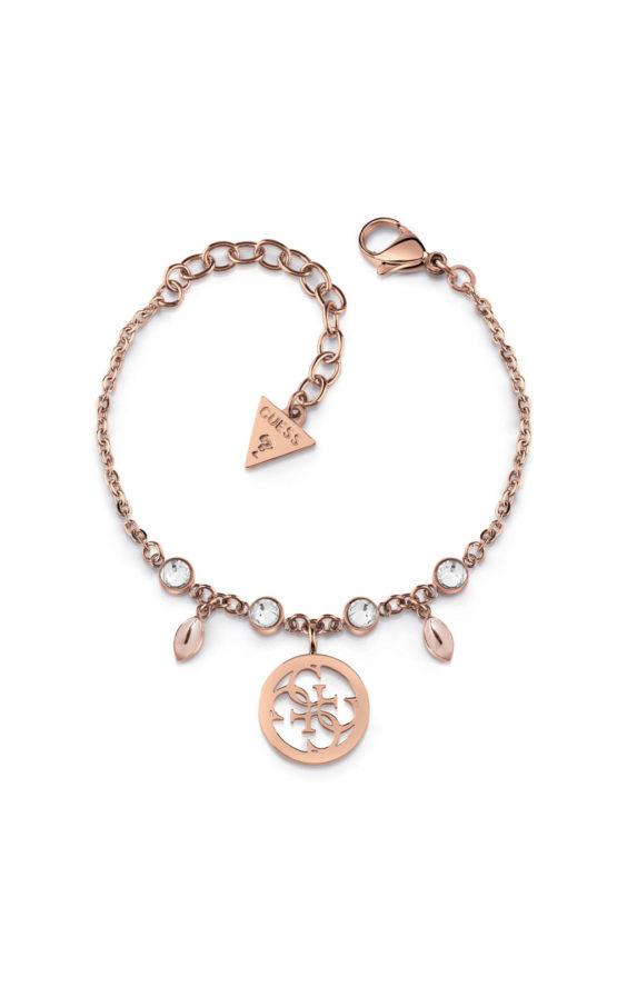 GUESS STEEL UBB78021-S Ροζ Χρυσό Βραχιόλι Με Σχέδιο & Πέτρες