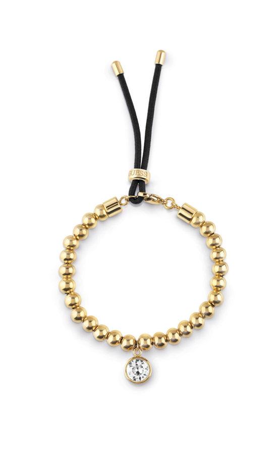 GUESS STEEL UBB78029 Χρυσό Βραχιόλι Με Χάντρες & Μαύρο Κορδόνι