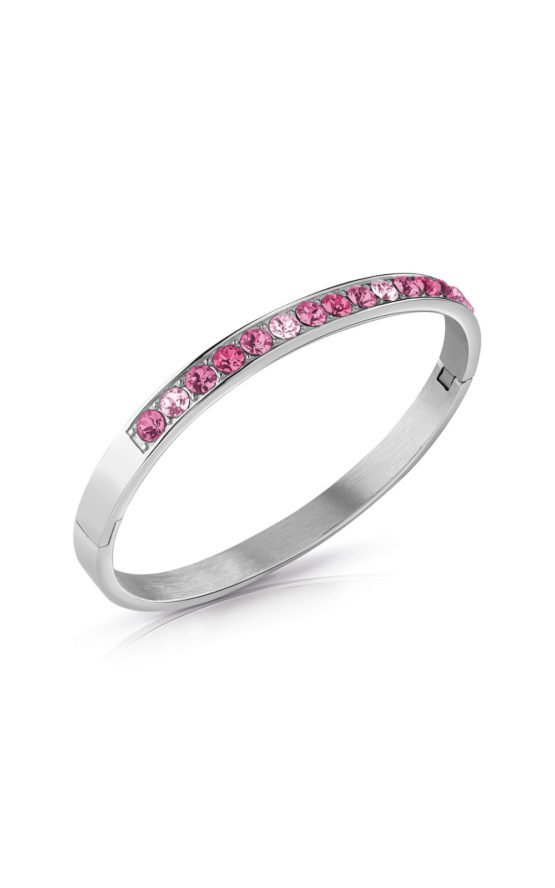GUESS STEEL UBB78111-S Ασημένιο Βραχιόλι Με Ροζ Πέτρες