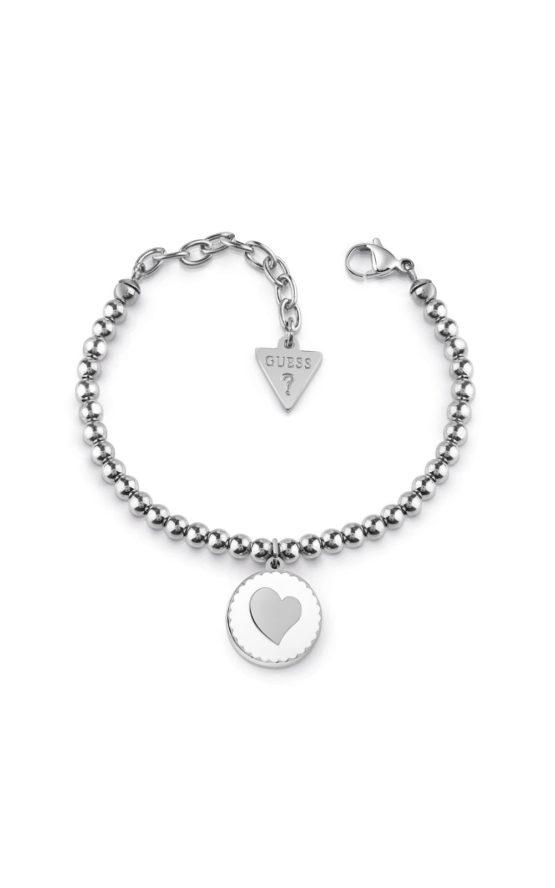 GUESS STEEL UBB78122-S Ασημένιο Βραχιόλι Με Πέρλες & Καρδιά