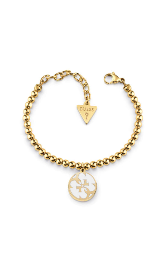 GUESS STEEL UBB78125-S Χρυσό Βραχιόλι Με Πέρλες & Σχέδιο
