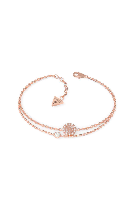 GUESS STEEL UBB79034-S Ροζ Χρυσό Βραχιόλι Με Διπλή Αλυσίδα