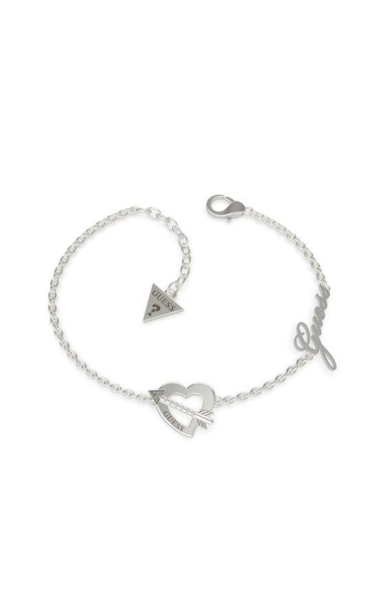 GUESS STEEL UBB79090-S Ασημένιο Βραχιόλι Με Καρδιά