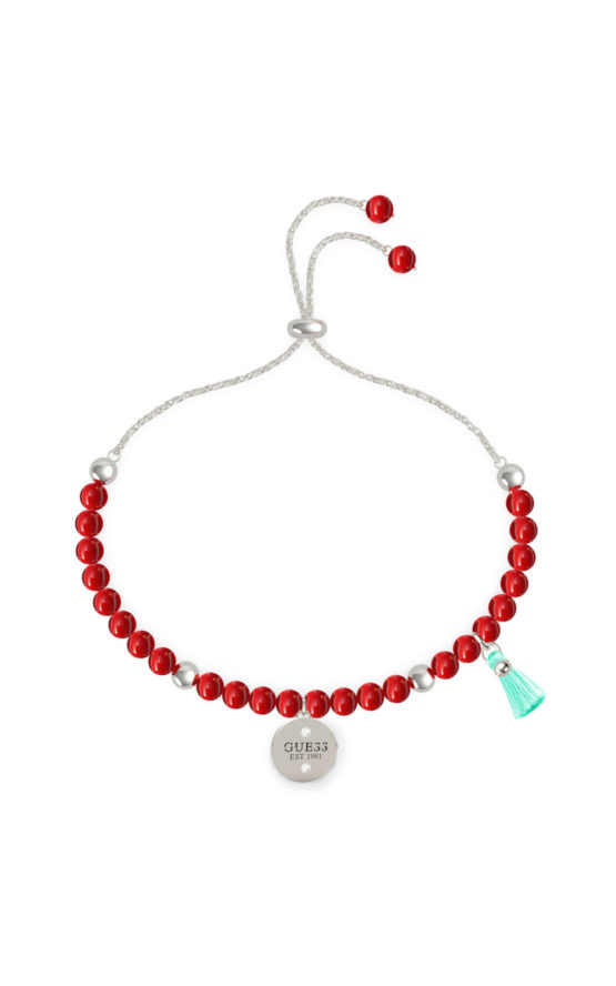 GUESS STEEL UBB79135-S Ασημένιο Βραχιόλι Με Κόκκινες Πέτρες
