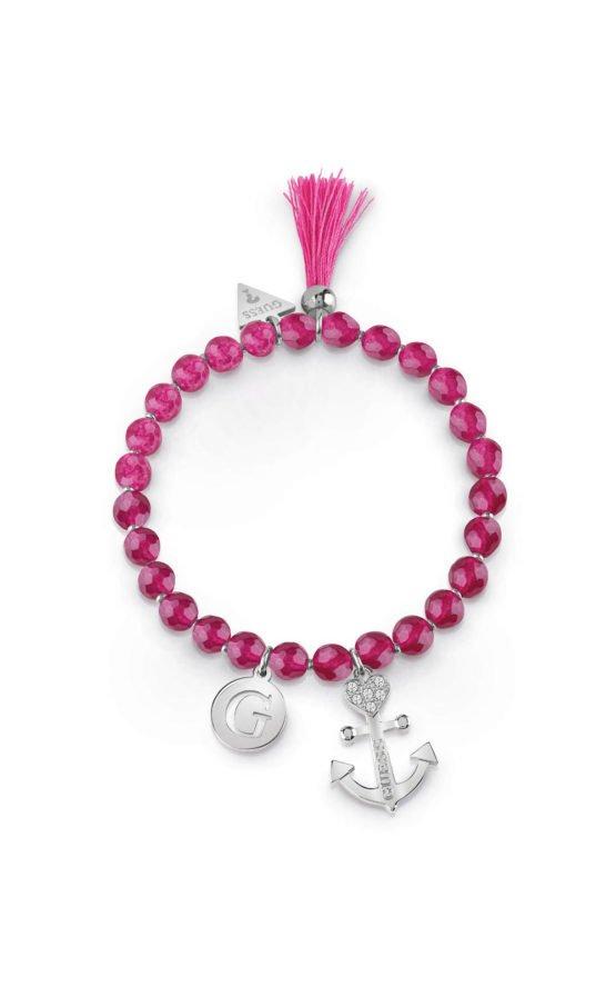 GUESS STEEL UBB85033-S Βραχιόλι Με Ροζ Χάντρες & Κρεμαστά