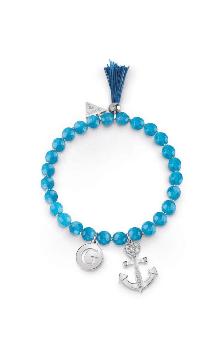 GUESS STEEL UBB85034-S Βραχιόλι Με Μπλε Χάντρες & Κρεμαστά