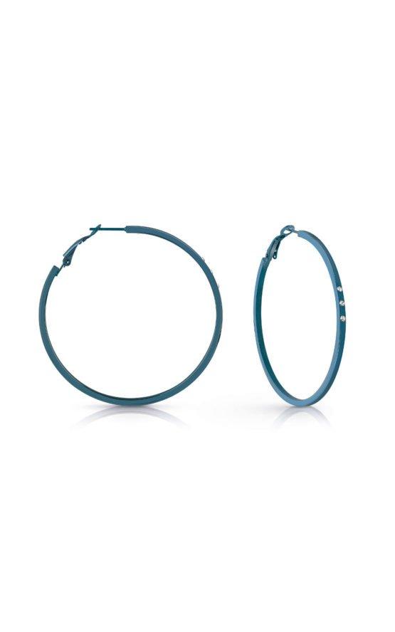 GUESS STEEL UBE78080 Μπλε Σκουλαρίκια Κρίκοι