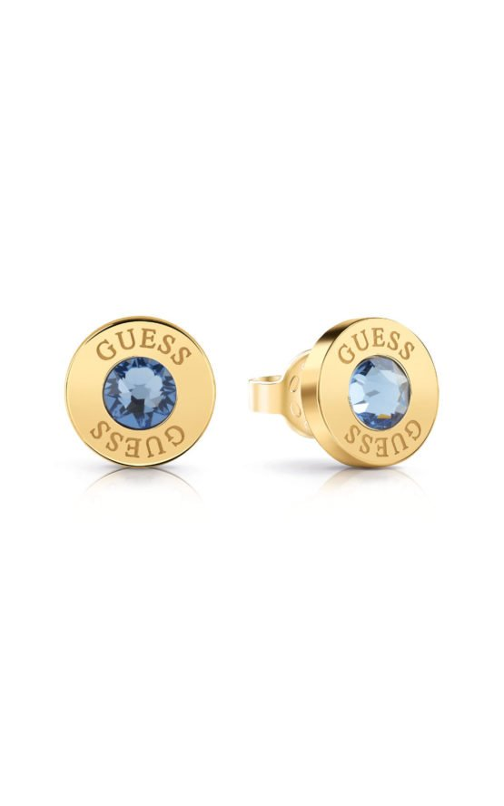 GUESS STEEL UBE78098 Χρυσά Σκουλαρίκια Με Γαλάζια Πέτρα
