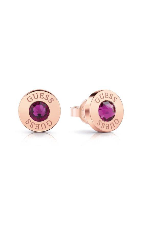 GUESS STEEL UBE78105 Ροζ Χρυσά Σκουλαρίκια Με Μωβ Πέτρα