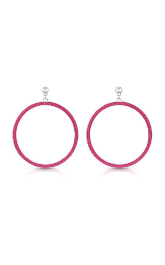 GUESS STEEL UBE78112 Ροζ Σκουλαρίκια Κρίκοι
