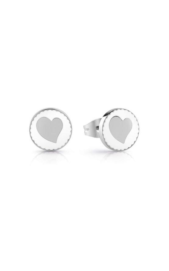 GUESS STEEL UBE78125 Ασημένια Σκουλαρίκια Με Καρδιά
