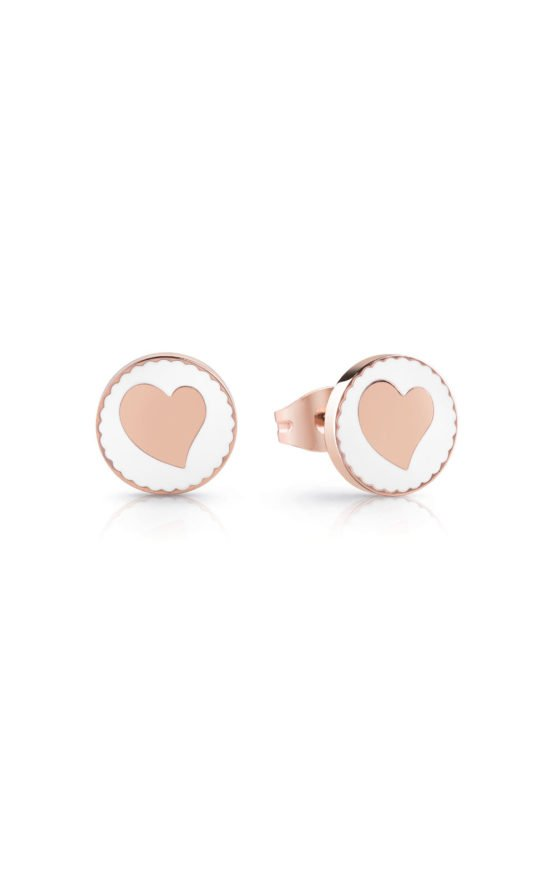 GUESS STEEL UBE78126 Ροζ Χρυσά Σκουλαρίκια Με Καρδιά