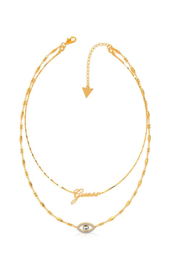 GUESS STEEL UBN29001 Χρυσό Κολιέ Με Διπλή Αλυσίδα & Μάτι