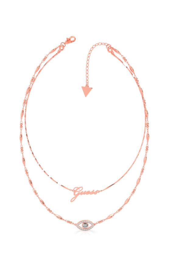 GUESS STEEL UBN29002 Ροζ Χρυσό Κολιέ Με Διπλή Αλυσίδα & Μάτι