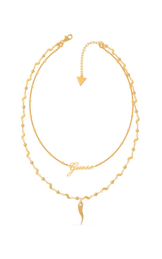 GUESS STEEL UBN29004 Χρυσό Κολιέ Με Διπλή Αλυσίδα & Κέρατο