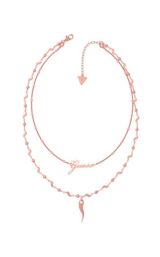 GUESS STEEL UBN29005 Ροζ Χρυσό Κολιέ Με Διπλή Αλυσίδα & Κέρατο