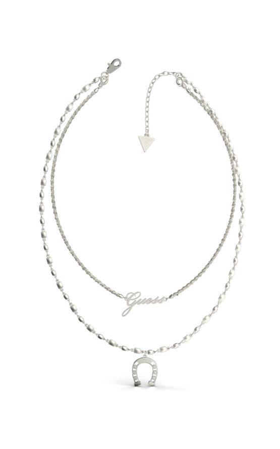 GUESS STEEL UBN29006 Ασημένιο Κολιέ Με Διπλή Αλυσίδα & Πέταλο