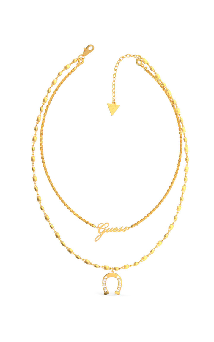 GUESS STEEL UBN29007 Χρυσό Κολιέ Με Διπλή Αλυσίδα & Πέταλο