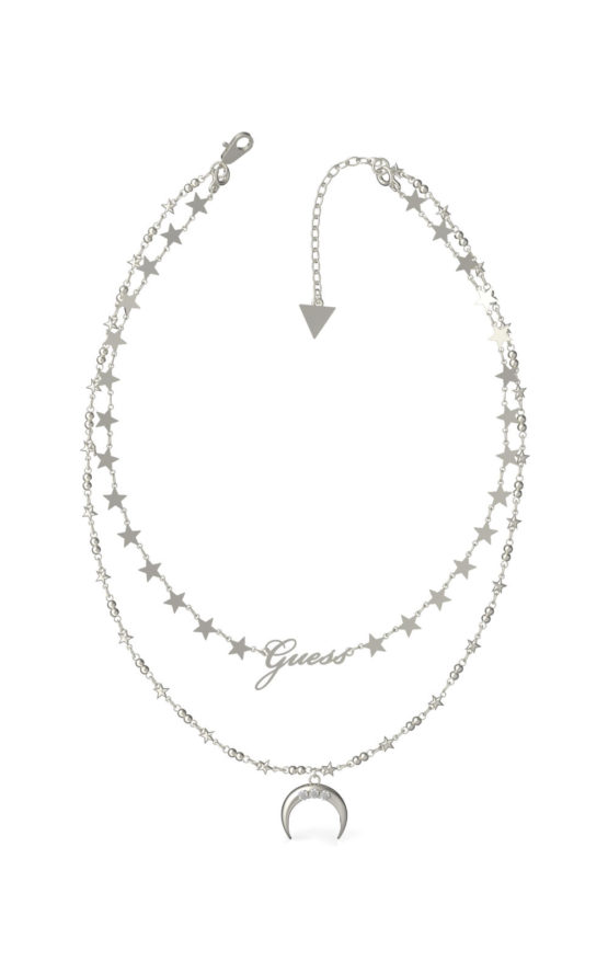 GUESS STEEL UBN29009 Ασημένιο Κολιέ Με Διπλή Αλυσίδα & Φεγγάρι