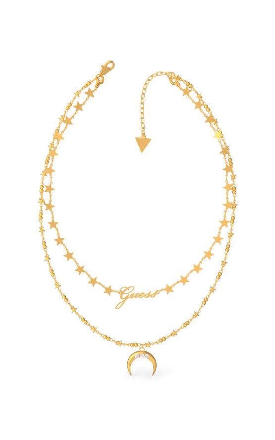 GUESS STEEL UBN29010 Χρυσό Κολιέ Με Διπλή Αλυσίδα & Φεγγάρι