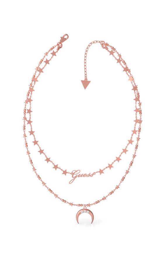 GUESS STEEL UBN29011 Ροζ Χρυσό Κολιέ Με Διπλή Αλυσίδα & Φεγγάρι