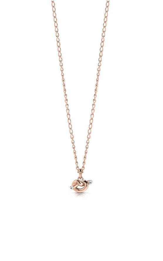 GUESS STEEL UBN29020 Ροζ Χρυσό Κολιέ Με Μικρό Κόμπο