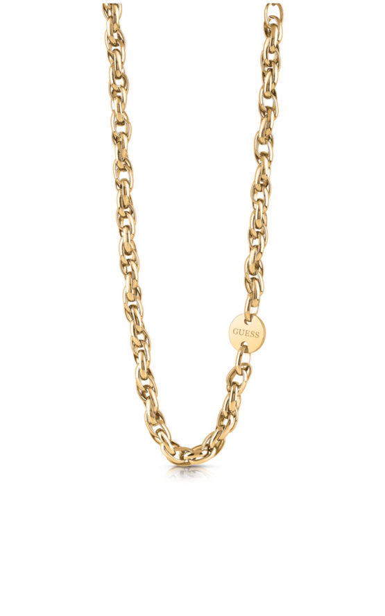 GUESS STEEL UBN29039 Χρυσό Κολιέ Με Οβάλ Αλυσίδα