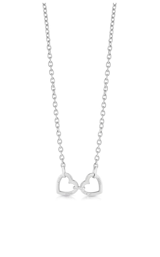 GUESS STEEL UBN29064 Ασημένιο Κολιέ Με Καρδιές