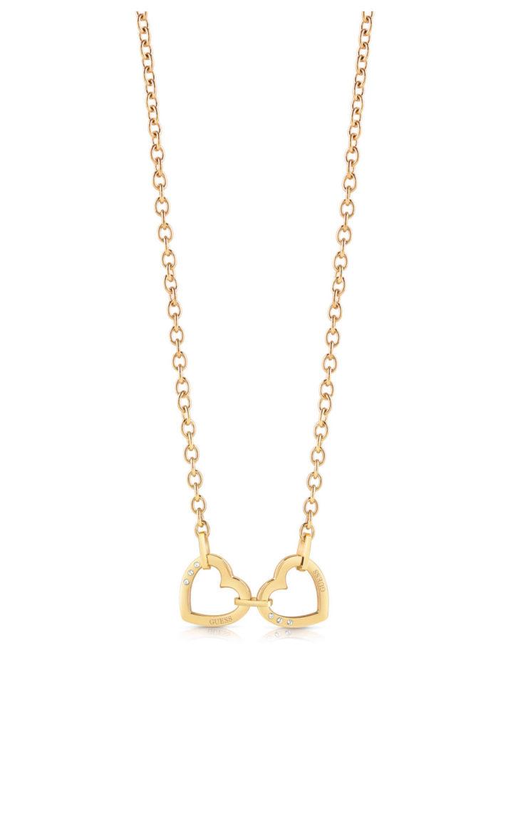 GUESS STEEL UBN29065 Χρυσό Κολιέ Με Καρδιές