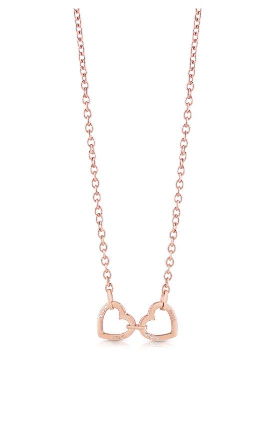 GUESS STEEL UBN29066 Ροζ Χρυσό Κολιέ Με Καρδιές