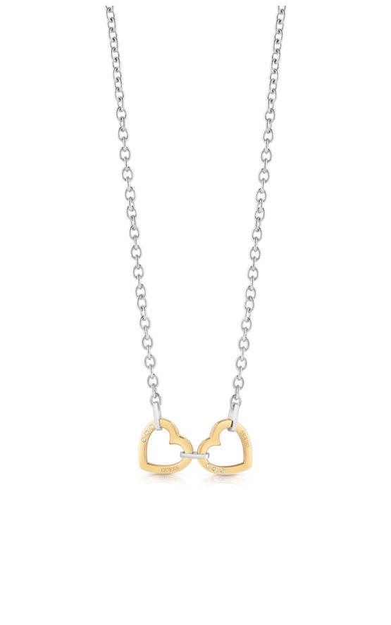 GUESS STEEL UBN29067 Ασημένιο Κολιέ Με Χρυσές Καρδιές