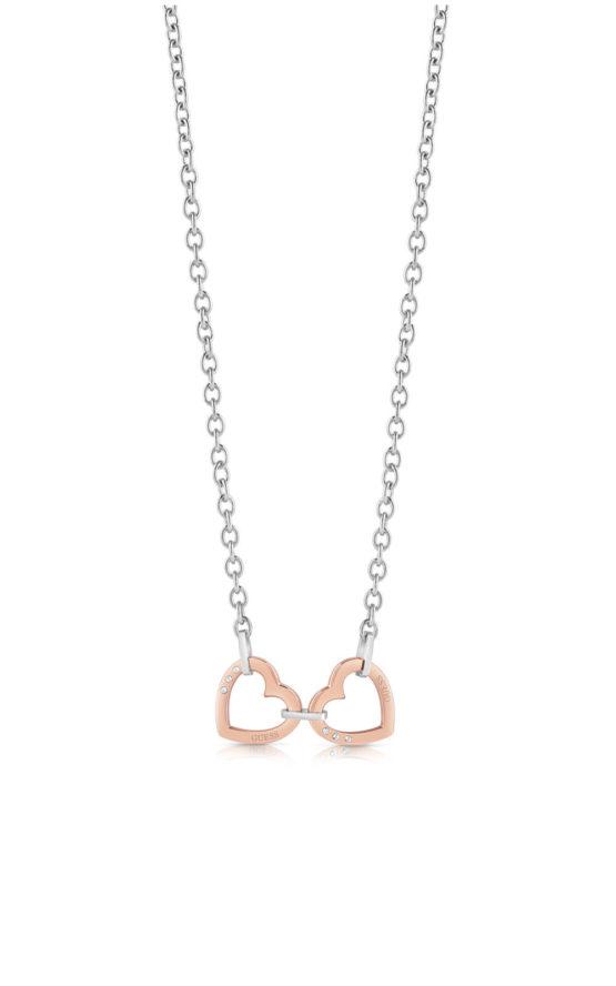GUESS STEEL UBN29068 Ασημένιο Κολιέ Με Ροζ Χρυσές Καρδιές