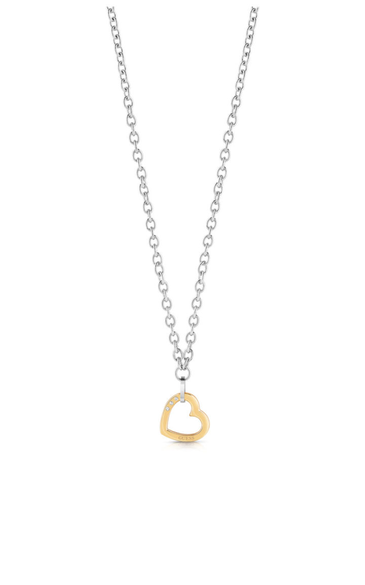 GUESS STEEL UBN29072 Ασημένιο Κολιέ Με Χρυσή Καρδιά