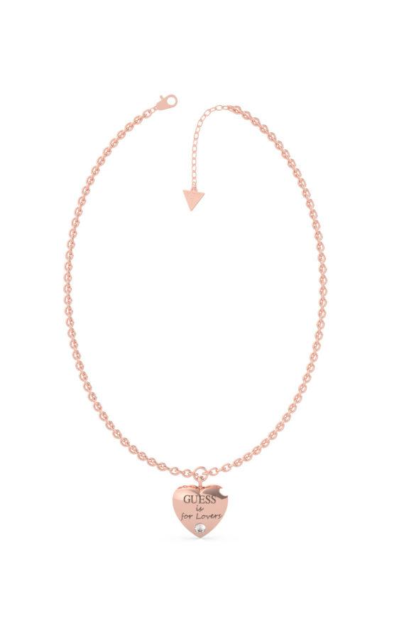 GUESS STEEL UBN70027 Ροζ Χρυσό Κολιέ Με Καρδιά