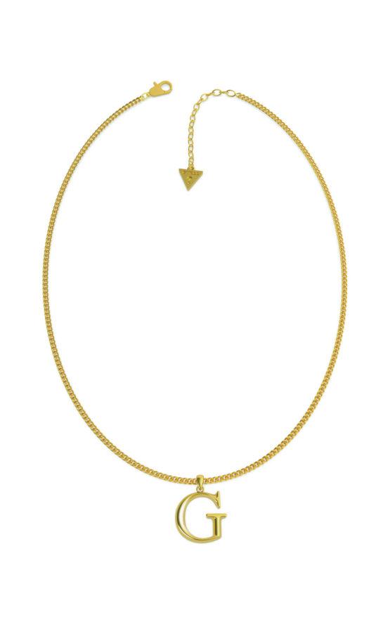 GUESS STEEL UBN70078 Χρυσό Κολιέ Με Λογότυπο