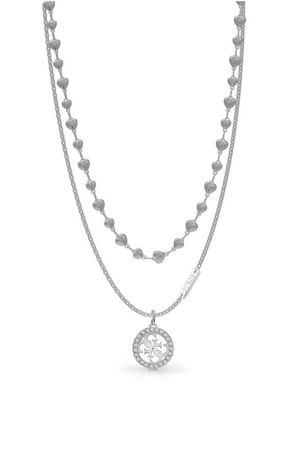 GUESS STEEL UBN78009 Ασημένιο Κολιέ Με Λογότυπο & Σχέδιο