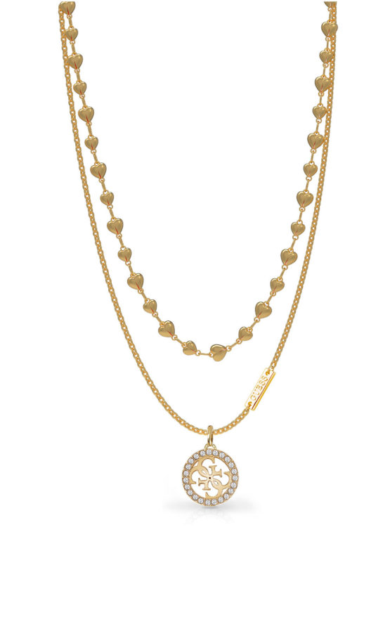 GUESS STEEL UBN78010 Χρυσό Κολιέ Με Λογότυπο & Σχέδιο
