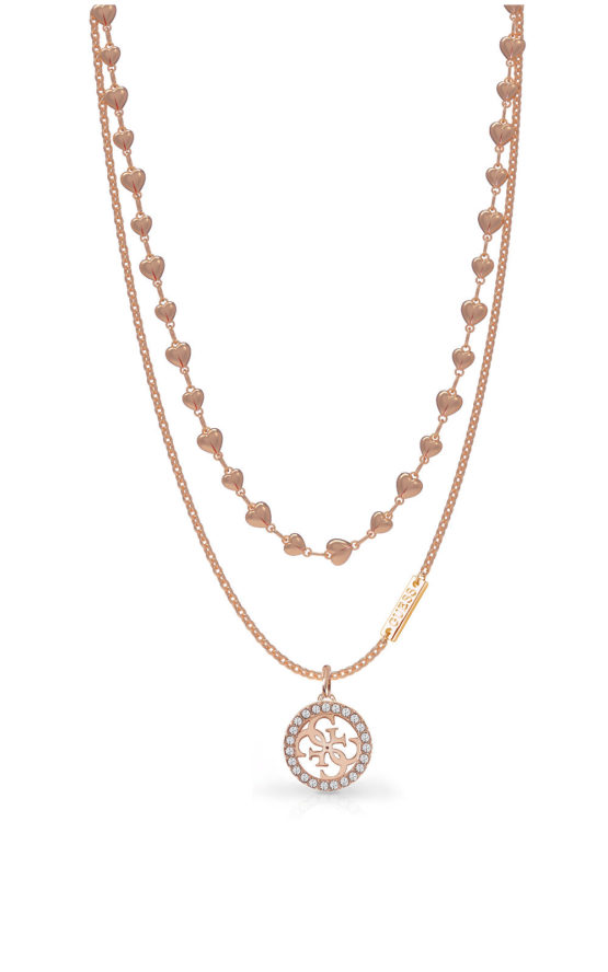 GUESS STEEL UBN78011 Ροζ Χρυσό Κολιέ Με Λογότυπο & Σχέδιο
