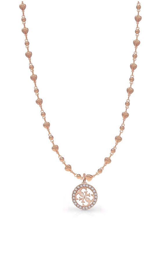 GUESS STEEL UBN78017 Ροζ Χρυσό Κολιέ Με Καρδιές & Σχέδιο