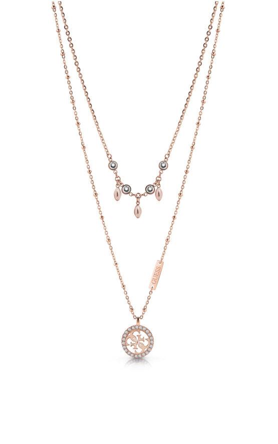 GUESS STEEL UBN78020 Ροζ Χρυσό Διπλό Κολιέ Με Κρεμαστά & Σχέδιο