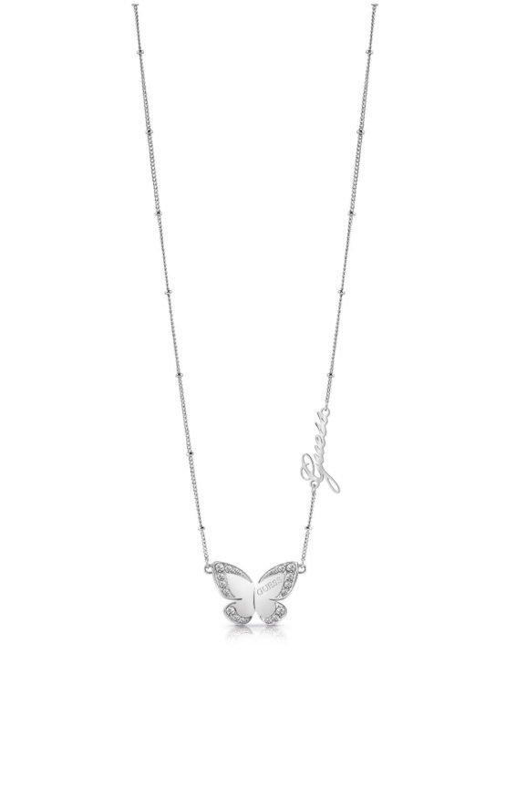 GUESS STEEL UBN78024 Ασημένιο Κολιέ Με Πεταλούδα & Λογότυπο